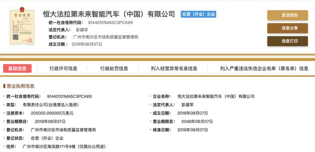 恒大法拉第未来智能汽车(中国)有限公司成立