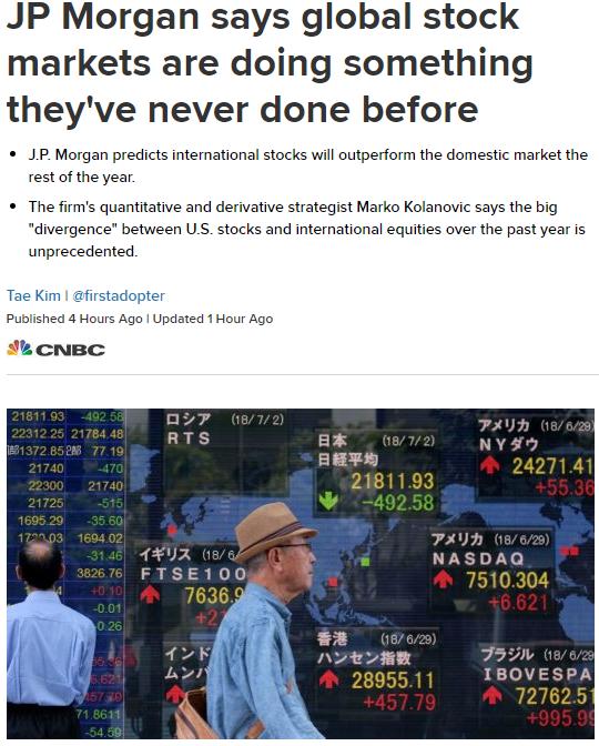 摩根大通︰全球股市正在做一件前所未有的事情