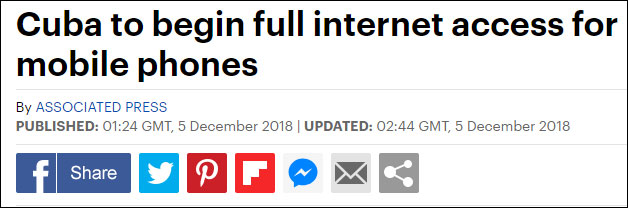 终于能上网!古巴宣布6日起手机全面连网