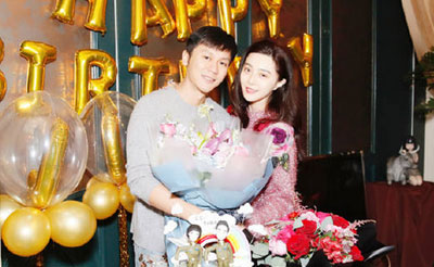 范冰冰素颜出镜为李晨庆生 遭网友催婚