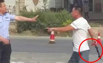 男子酒驾被查抄砍刀冲撞追砍交警
