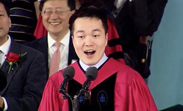 来自中国农村的他在哈佛毕业礼上演讲