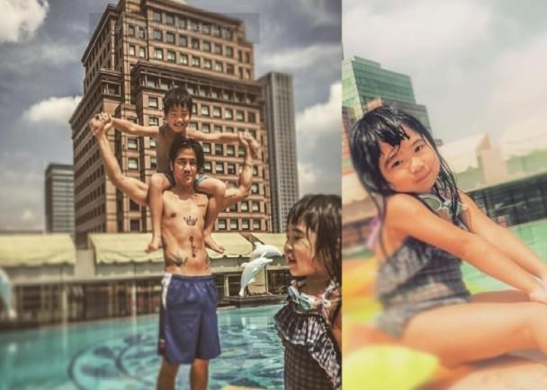 【有意思】曹格本来想拍张酷酷的父子照,却被女儿破坏了画风