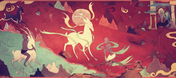 故事改编,该片采用敦煌壁画的形式,用中国古代佛教绘画的风格.图片
