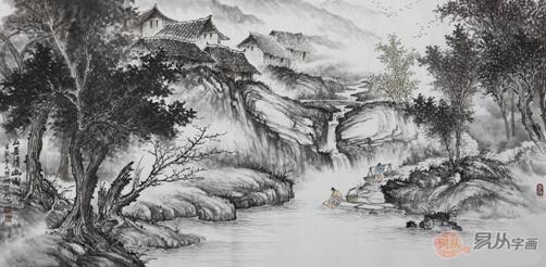 怎么画简单素描山水画分享展示