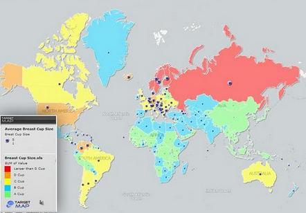 外国数据地图网站target map,近日发表了全球女性胸部大小分布图,数据