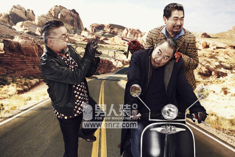 张铁林,张国立,王刚合体拍时尚大片图片