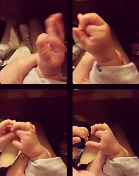 欧弟女儿勾手指做高难度动作 粉嫩肉手萌翻众人