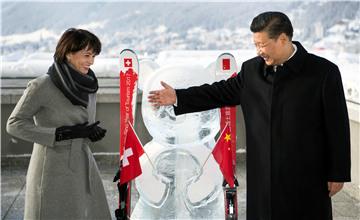 习近平夫妇在达沃斯与熊猫冰雕合影