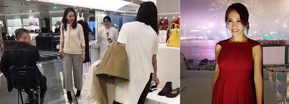 46岁阔太黎姿在巴黎商场扫货 老公坐轮椅陪伴