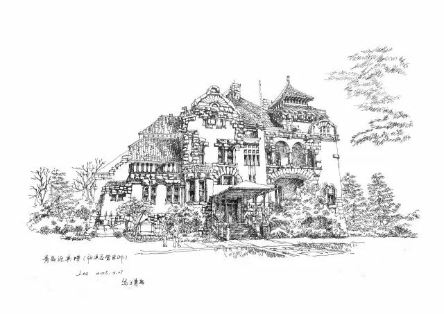 典雅主义建筑手绘图