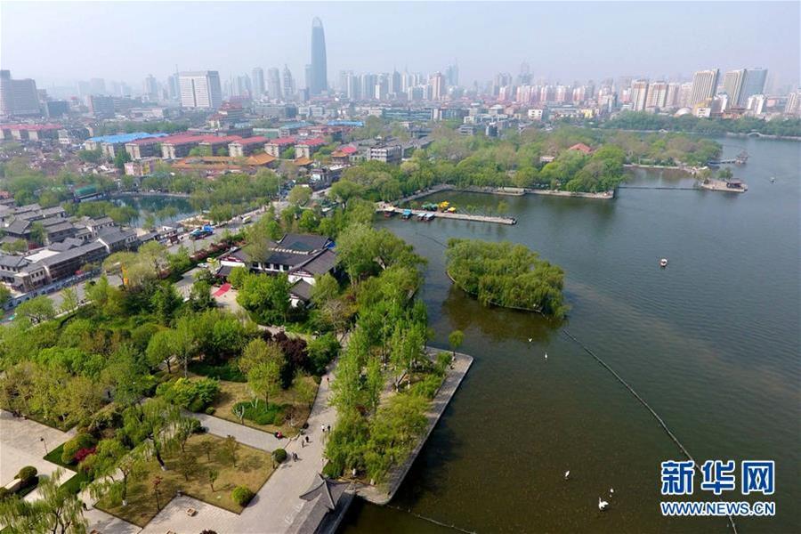 航拍济南大明湖 免费开放后成市民游客游玩好去处