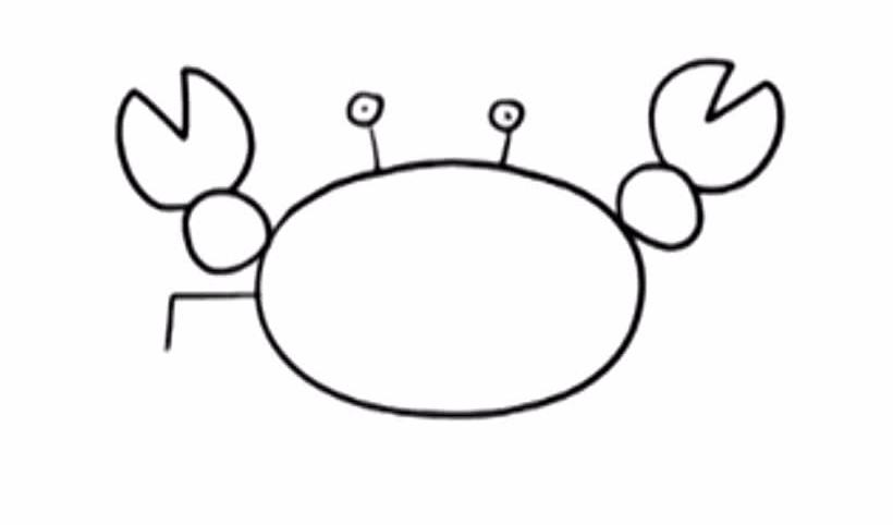 《童趣》简笔画 两分钟学会画小螃蟹