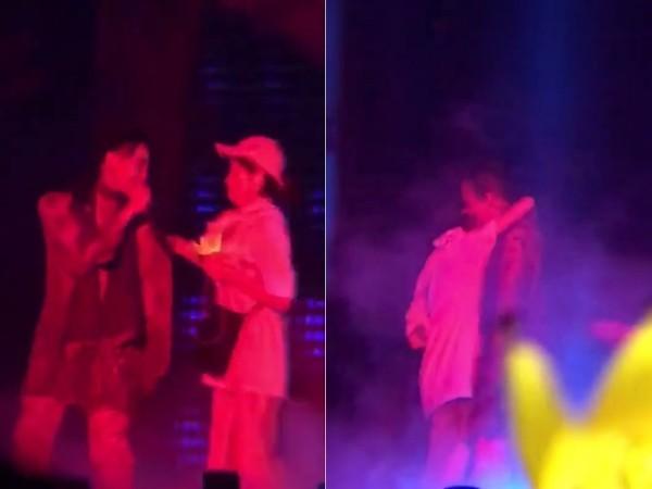 权志龙演唱会突遭女粉丝强抱 女子疑似喝醉酒