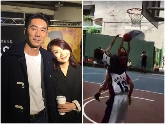 陶晶莹11岁女儿留利落短发 打篮球抢篮板拼劲足