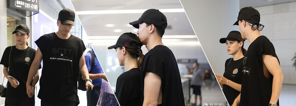 把头搭在女友头上 刘翔用胸膛护驾与吴莎甜蜜耳语