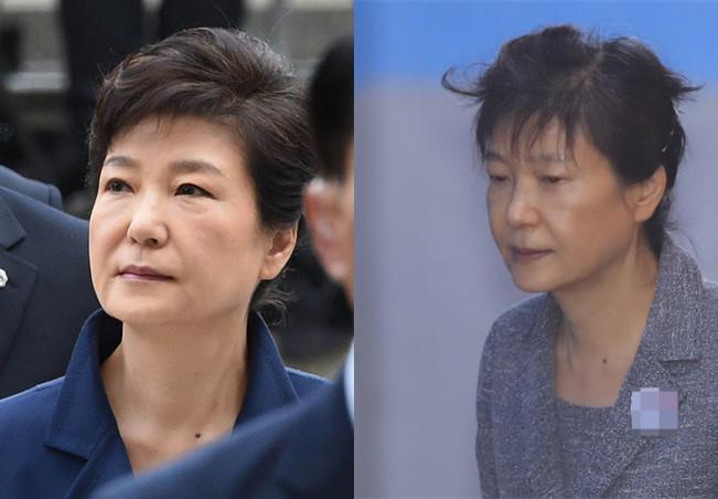 朴槿惠第56次受审 未戴发卡白发风中凌乱
