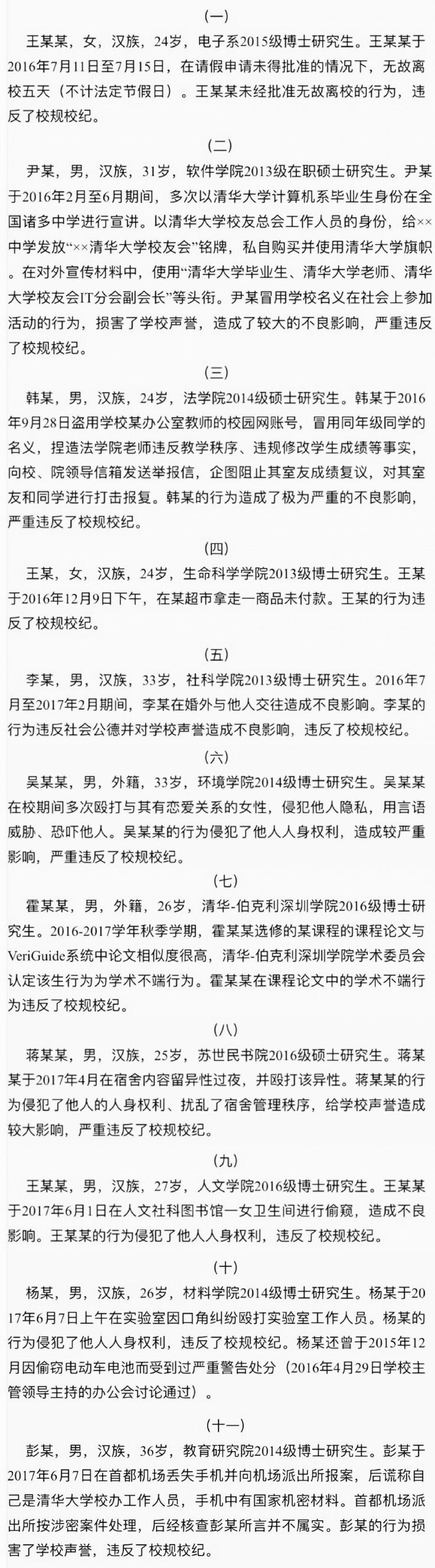 清华大学11名研究生被处分 涉婚外情、偷窥女厕等