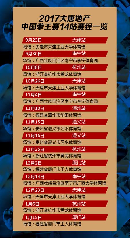 中国拳王赛赛程出炉:9月23日揭幕 5个月激战14站