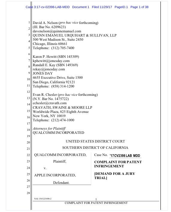 高通再次起诉苹果 指控iPhone X侵犯其专利