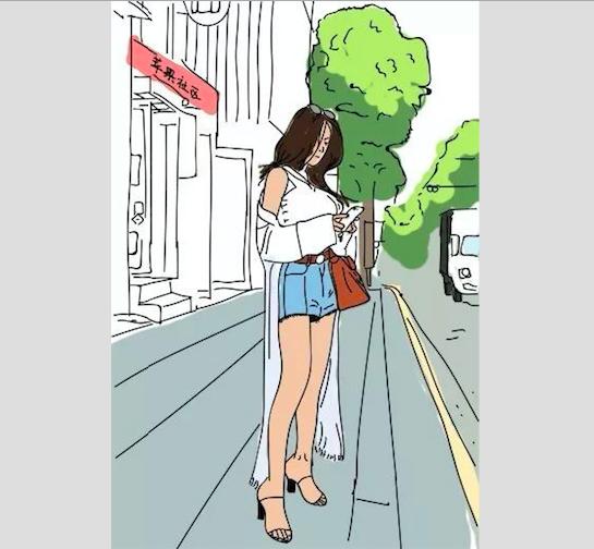 爱情漫画女子手绘