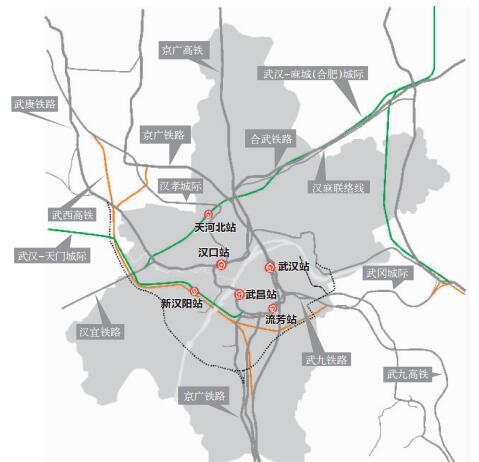 武汉铁路枢纽规划 新建三大火车站 高铁开进机场