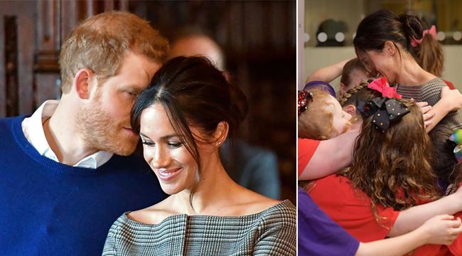 """""""准王妃""""梅根与哈里王子甜蜜耳语 和小朋友们亲密拥抱"""
