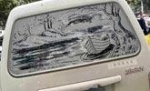 厉害!女老师用车窗灰尘画山水 网友:再也不洗车了