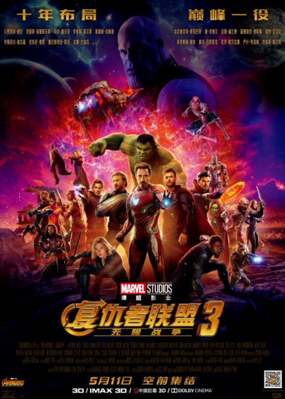 《复仇者联盟3》上映三天 国内票房正式破十亿