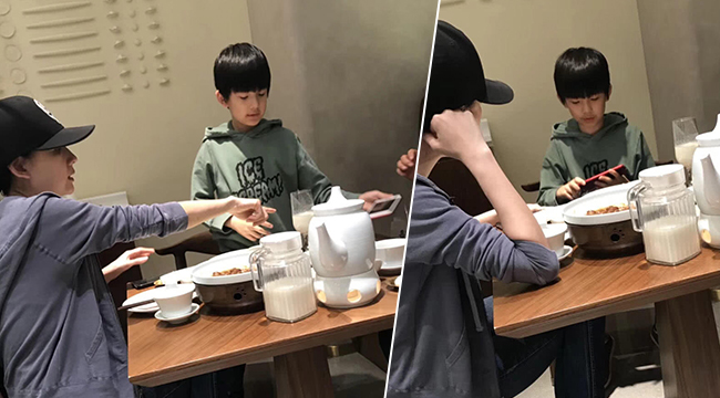 网友偶遇董洁带儿子吃晚餐 9岁的顶顶像极了潘粤明