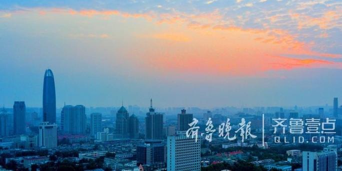 小长假的济南,朝霞映红半边天