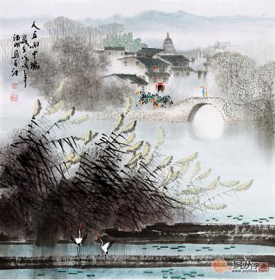 精美江南风景画诸明装饰挂画新品《人立雨中桥》(作品来源:易从网)