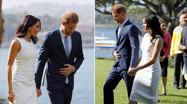 梅根王妃怀孕小腹微凸 哈里王子小心呵护牵手过草坪