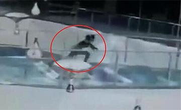 女子掉进商场鲨鱼缸 男子跳入救人