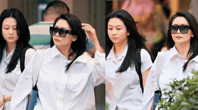 邱淑贞接女儿放学 一起逛街同款衬衣似姐妹花