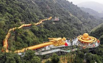 长399米雕塑巨龙在广东清远建成揭幕