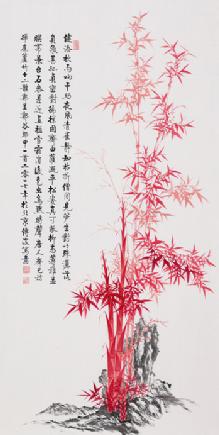 """""""与竹共舞"""",当代擅长画竹子的画家李传波图片"""