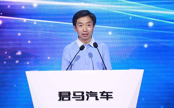 """图:中国汽车工业协会副会长、秘书长吴绍明先生 发布会现场,中国汽车工业协会副会长、秘书长吴绍明先生对君马品牌寄予厚望,他说:""""希望它如同我们所在的雄安新区一样,带着新鲜,带着朝气,带来独特的风采,成为中国汽车品牌崛起的新力量。"""""""