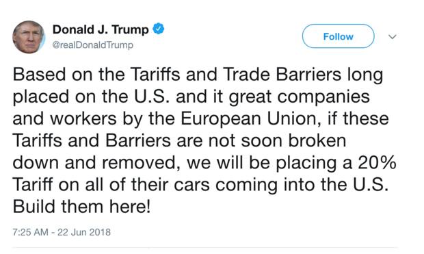 特朗普欲向欧系车加税 从2.5%提升到20%