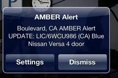 ▲美国的手机用户接收到的儿童被绑架广告