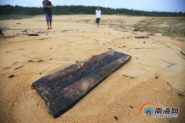 海边散落着渔船上的木板.南海网见习记者