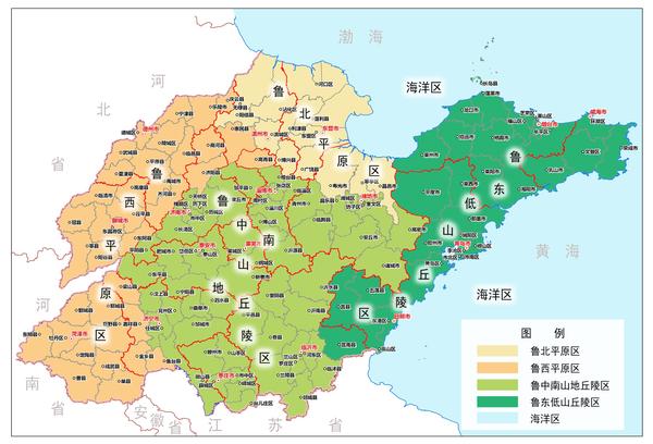 全省五个区域划分 鲁北平原区是山东生态环境最脆弱的地区,包括东营等3市的13个县(市、区),主要以生态修复为主。鲁西平原区是山东粮食主产区,包括德州等7市的36个县(市、区),重点是保护现有生态系统,推进农牧循环。鲁中南山地丘陵区包括济南等9市的57个县(市、区),约占全省山地丘陵总面积的3/4,是山东水土流失最严重的区域,主要是加强水土流失治理等工程建设。鲁东低山丘陵区包括青岛等5市的31个县(市、区),是全省森林资源最丰富的地区,重点是加强水土保持林、水源涵养林建设。海洋区包括山东的内海、领海及管