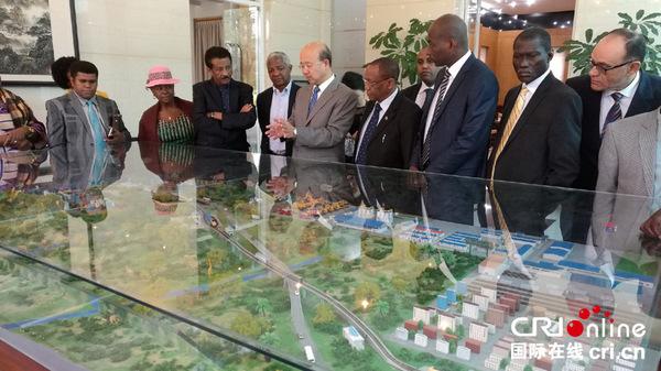 中国驻肯尼亚大使刘显法(左五)在沙盘前向非洲国家使节介绍蒙内铁路概况。(王新俊 摄)