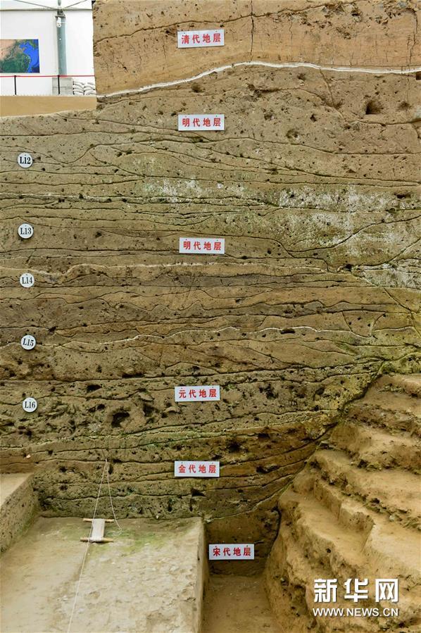 8月25日,在河南省开封市新郑门遗址发掘现场,考古人员已揭露出宋代至清代10多层密集叠压在一起的道路。