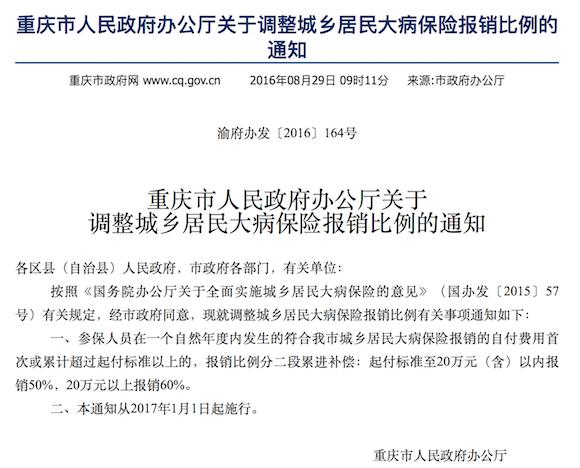 明年重庆大病保险报销比例将调整 花费10万内