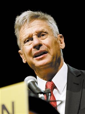 5月29日,约翰逊出席美国自由党全国代表大会。 新华社/路透