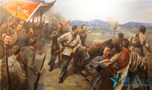 1927年11月14日,黄麻起义爆发,图为鄂东军保卫黄安油画