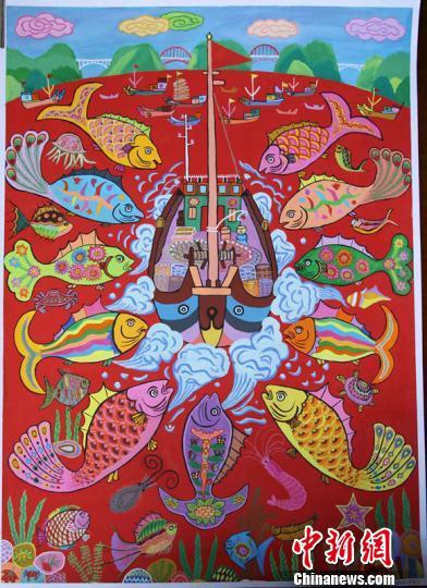 浙江洞头渔民将渔家风情 搬上 画板 彩笔绘生活变迁
