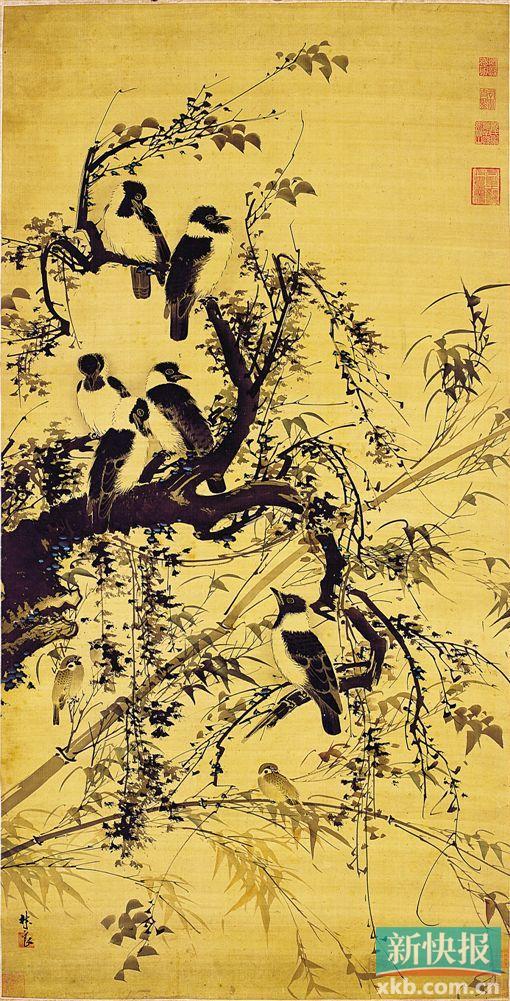 ■明 林良《秋树聚禽图轴》 容庚捐赠藏品