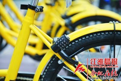 每辆单车都有特殊的密码锁. 晨报星级记者 李福凯 摄